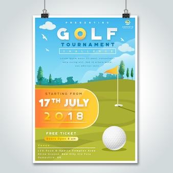 Großes turnier des golf-herausforderung-plakat-designs