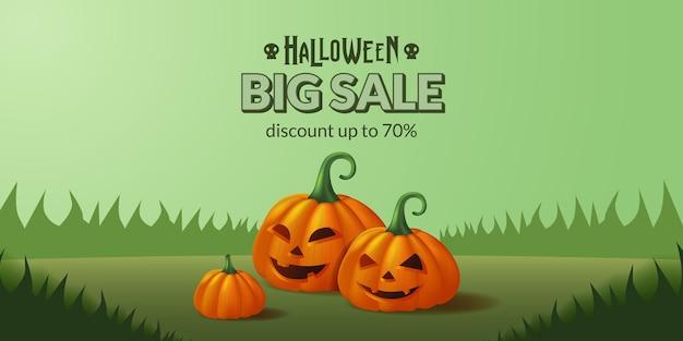 Großes verkaufsangebot banner von halloween kürbis jack o lantern illustration auf dem grünen gras für süßes oder saures party
