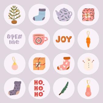 Großes weihnachtsset mit traditionellen winterelementen