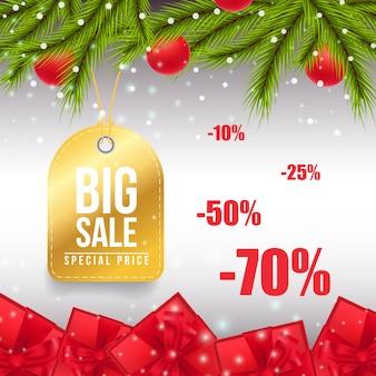 Großes weihnachtsverkauf-fahnendesign