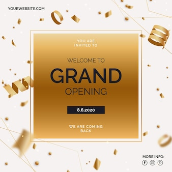 Großes wiedereröffnungsbanner mit goldenem konfetti