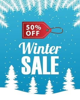 Großes winterverkaufsplakat mit dem tag, der im schneelandschaftsszenen-illustrationsdesign hängt