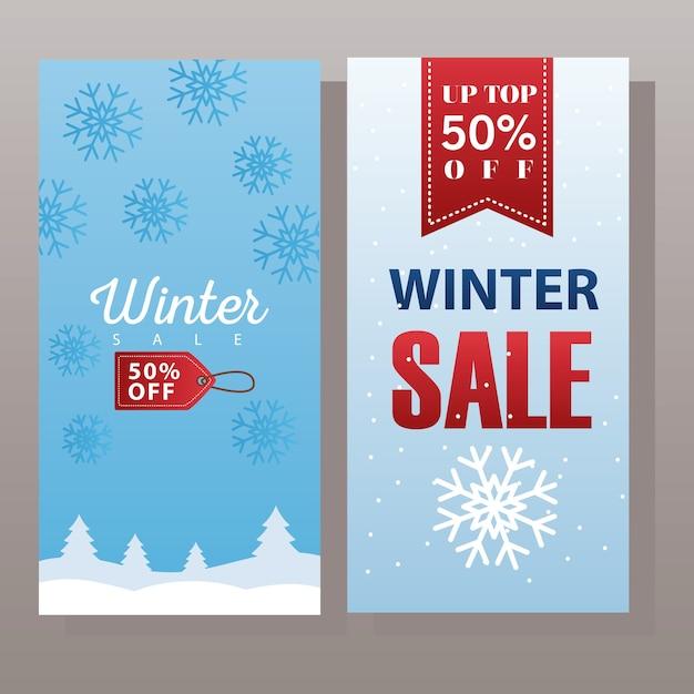 Großes winterverkaufsplakat mit hängendem etikett und bandillustrationsdesign