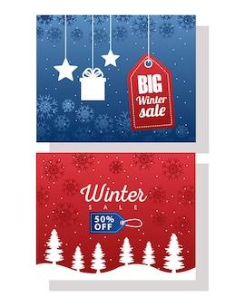 Großes winterverkaufsplakat mit hängendem illustrationsdesign der blauen und roten tags