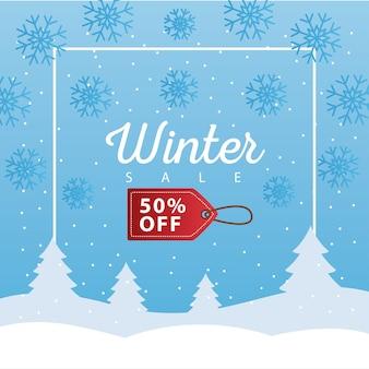 Großes winterverkaufsplakat mit tag, der im schneelandschaftsillustrationsdesign hängt