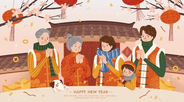 Großfamilie grüßt neujahr vor siheyuan