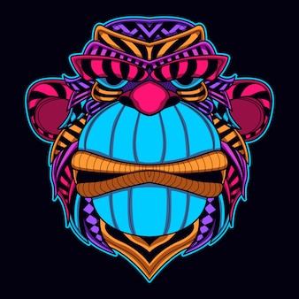 Großmaulgorilla in neonfarbe