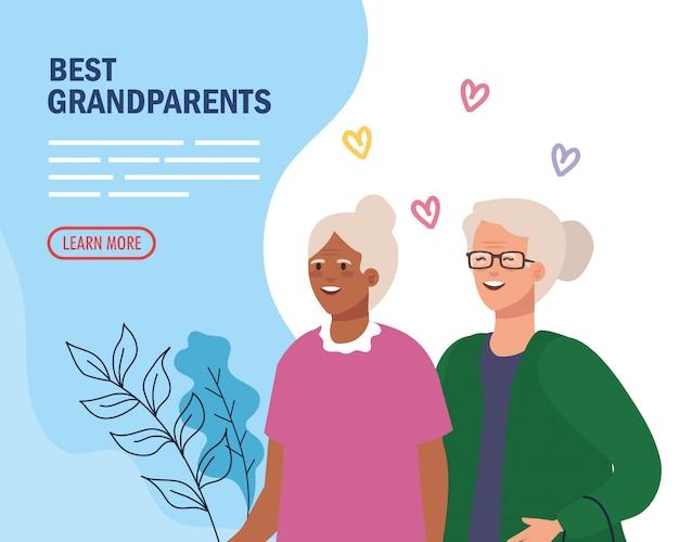 Großmütter mit herzen auf großelternvektorentwurf