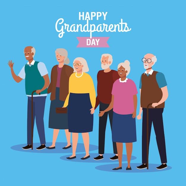 Großmütter und großväter auf glücklichem großelterntag-vektordesign