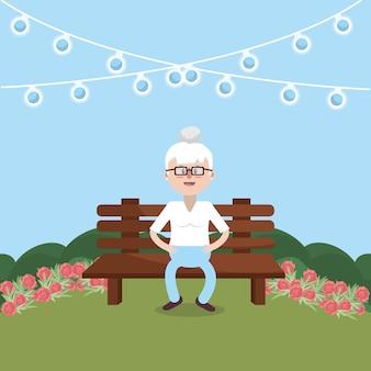 Großmutter auf der bank