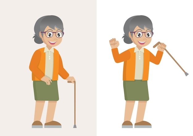 Großmutter auf spaziergang seniorin mit gehstock