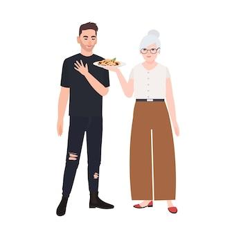 Großmutter, die ihrem enkel teller mit nudeln anbietet. nette lächelnde ältere frau, die teenager leckeres essen gibt. großeltern und enkel. bunte vektorillustration im flachen cartoon-stil.