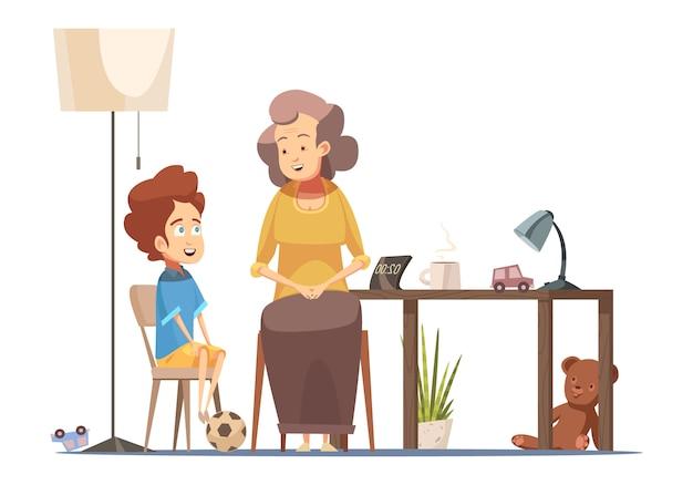 Großmutter, die mit kleinem enkel an der karikaturkarikaturplakat-vektorillustration des älteren frauencharakters des speisetischs spricht