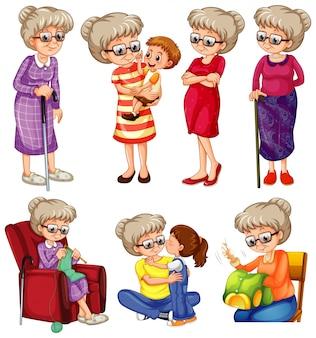 Großmutter, die verschiedene dinge auf weißem hintergrund tut