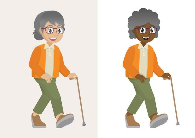 Großmutter geht mit gehstockvektor eps10