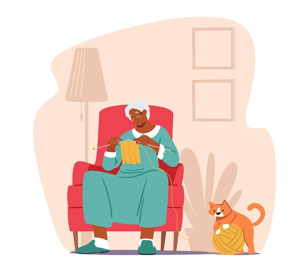 Großmutter genießt strick-freizeit, ältere frau sitzt auf einem sessel im wohnzimmer und strickt kleidung, gealterte oma-frauen-charakter-handwerks-hobby, freizeit zu hause. cartoon-vektor-illustration