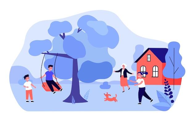Großmutter grüßt kinder, die draußen spielen. enkel schwingt auf schaukel auf flacher vektorillustration des baumzweigs. familien-, outdoor-aktivitätskonzept für banner, website-design oder landing-webseite