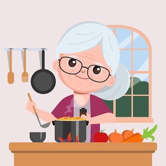 Großmutter kocht in der küchenkarikatur
