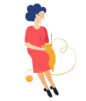 Großmutter mit brille oma alte frau strickt einen schal