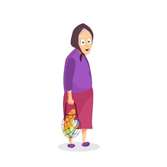 Großmutter mit einer schnurtasche. vektor-cartoon-illustration.