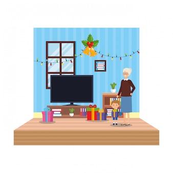 Großmutter mit enkel im wohnzimmer