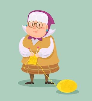 Großmutter strickt illustration