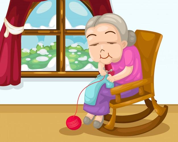 Großmutter strickt vektor