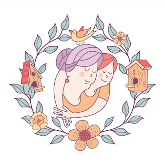 Großmutter und enkelin in einem rahmen aus blumen und vogelhäuschen.