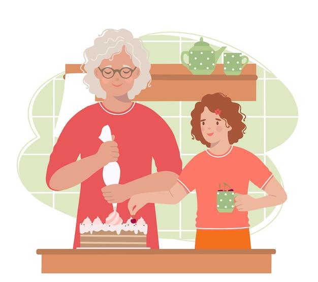 Großmutter und enkelin schmücken eine geburtstagstorte.