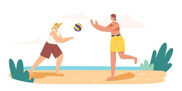 Großmutter und enkelin spielen beachvolleyball am meer. glückliche familien-sommerferien-freizeit. charaktere outdoor-freizeit, spiel und erholung am meer. cartoon-menschen-vektor-illustration