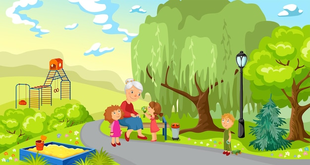 Großmutter und enkelkinder im park.