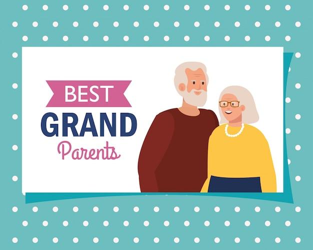 Großmutter und großvater auf besten großeltern vektor-design
