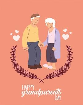 Großmutter und großvater des glücklichen großelterntagsentwurfs, alte frau und mann