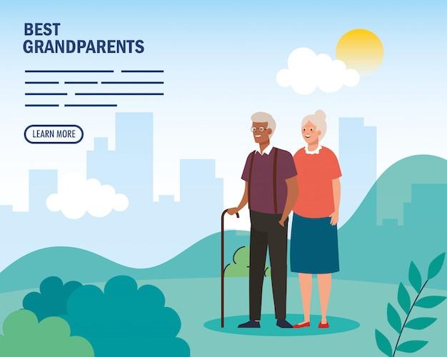 Großmutter und großvater im park auf schlagen großeltern vektordesign