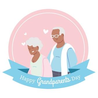 Großmutter und großvater mit bandentwurf, glücklicher großelterntag