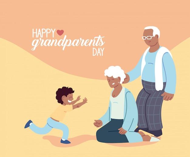 Großmutter und großvater mit enkel des glücklichen großelterntagsentwurfs, alte frau und mann