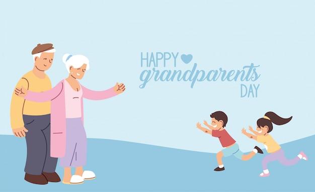 Großmutter und großvater mit enkelkindern des glücklichen großelterntagsentwurfs, alte frau und mann
