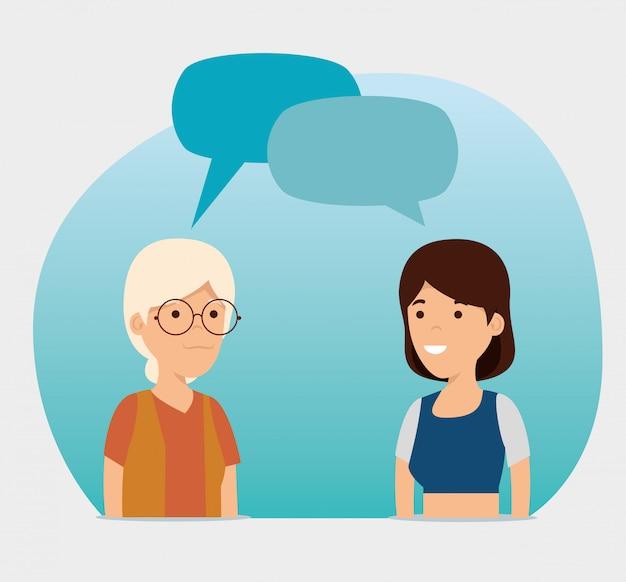 Großmutter und mädchen mit chat sprudelt mitteilung