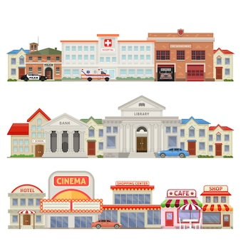 Großstadt drei farbige skylines mit stadt dienstleistungen historischen und bildungszentrum handelshäuser isoliert vektor-illustration