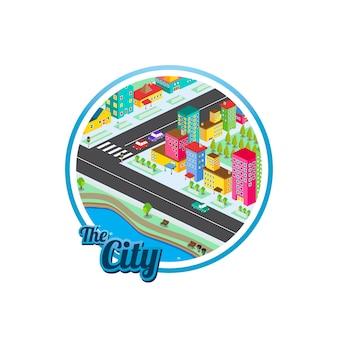 Großstadt isometrische immobilien realty cartoon logo vorlage