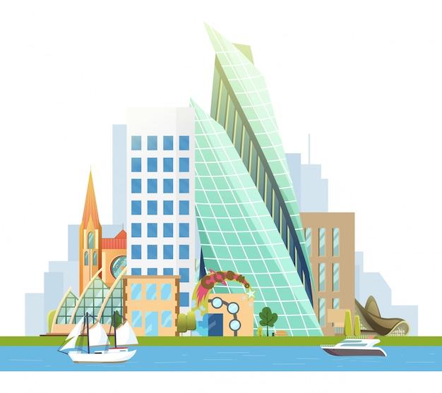 Großstadt mit wolkenkratzern und kleinen häusern. vektor yacht und segelboot auf dem fluss.