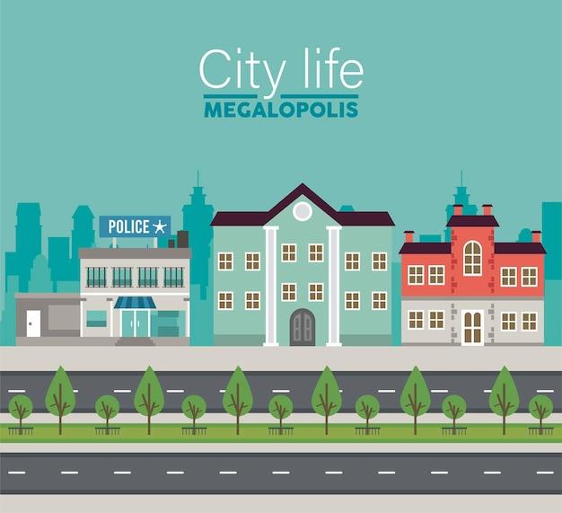 Großstadt-schriftzug des stadtlebens in der stadtbildszene mit polizeistation und gebäudeillustration