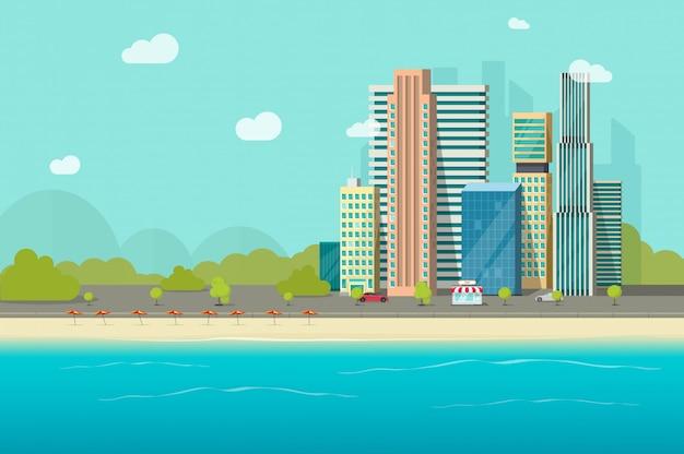 Großstadtwolkenkratzer nähern sich ozeanstrand oder modernem städtischem stadtbildufer von der seeansicht