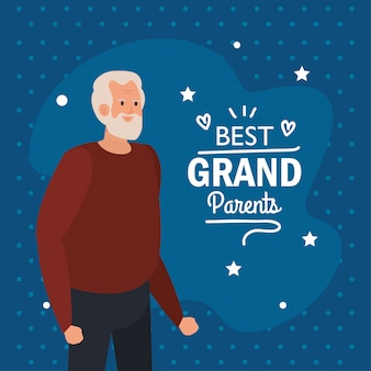 Großvater auf besten großeltern vektor-design