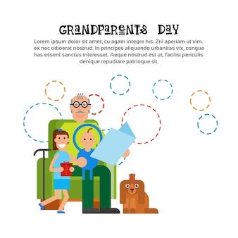 Großvater, der zu den enkelkindern glücklich ist großeltern-tagesgruß-karten-fahne