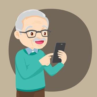 Großvater hält ein telefon in der hand