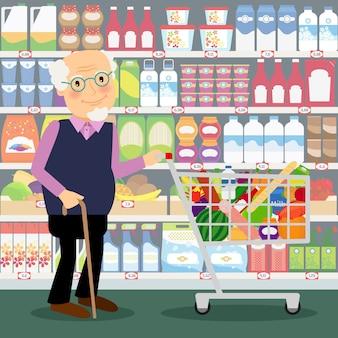 Großvater im geschäft. älterer mann im speicher mit dem warenkorb, der von den lebensmittelgeschäften voll ist, vector illustration