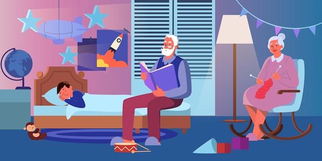 Großvater liest seinem enkel laut ein buch vor. alte dame stricken