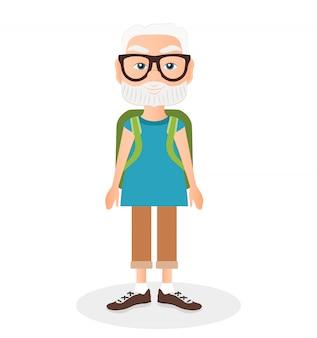 Großvater mit einer packsackreise. reisen mit dem grünen rucksack.