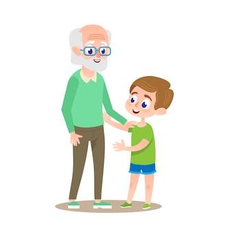 Großvater mit enkel lächelnd.